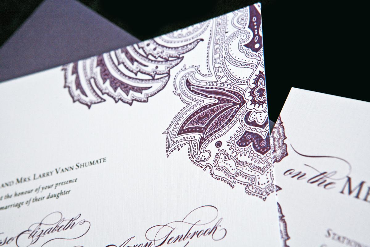 Stationery, white, purple, invitation, Invitations, Wedding, Paisley, Script, Aubergine