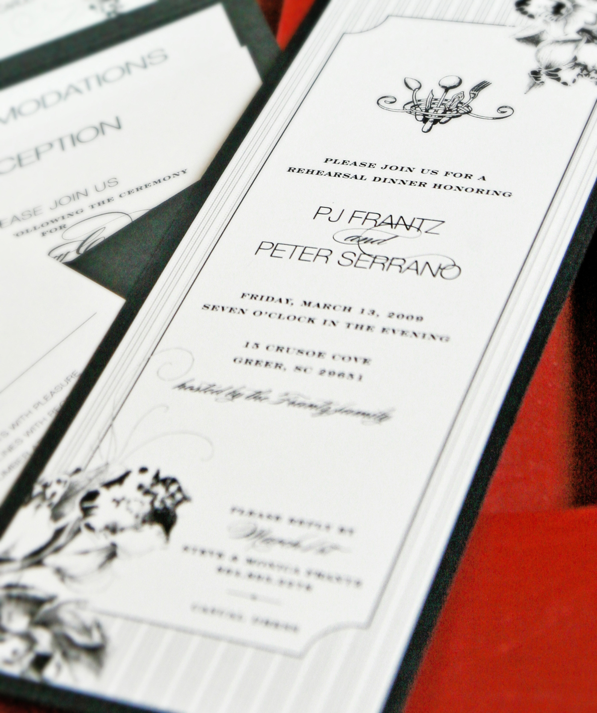 Stationery, white, black, invitation, Invitations, Orchid, Dinner, Rehearsal, Backing