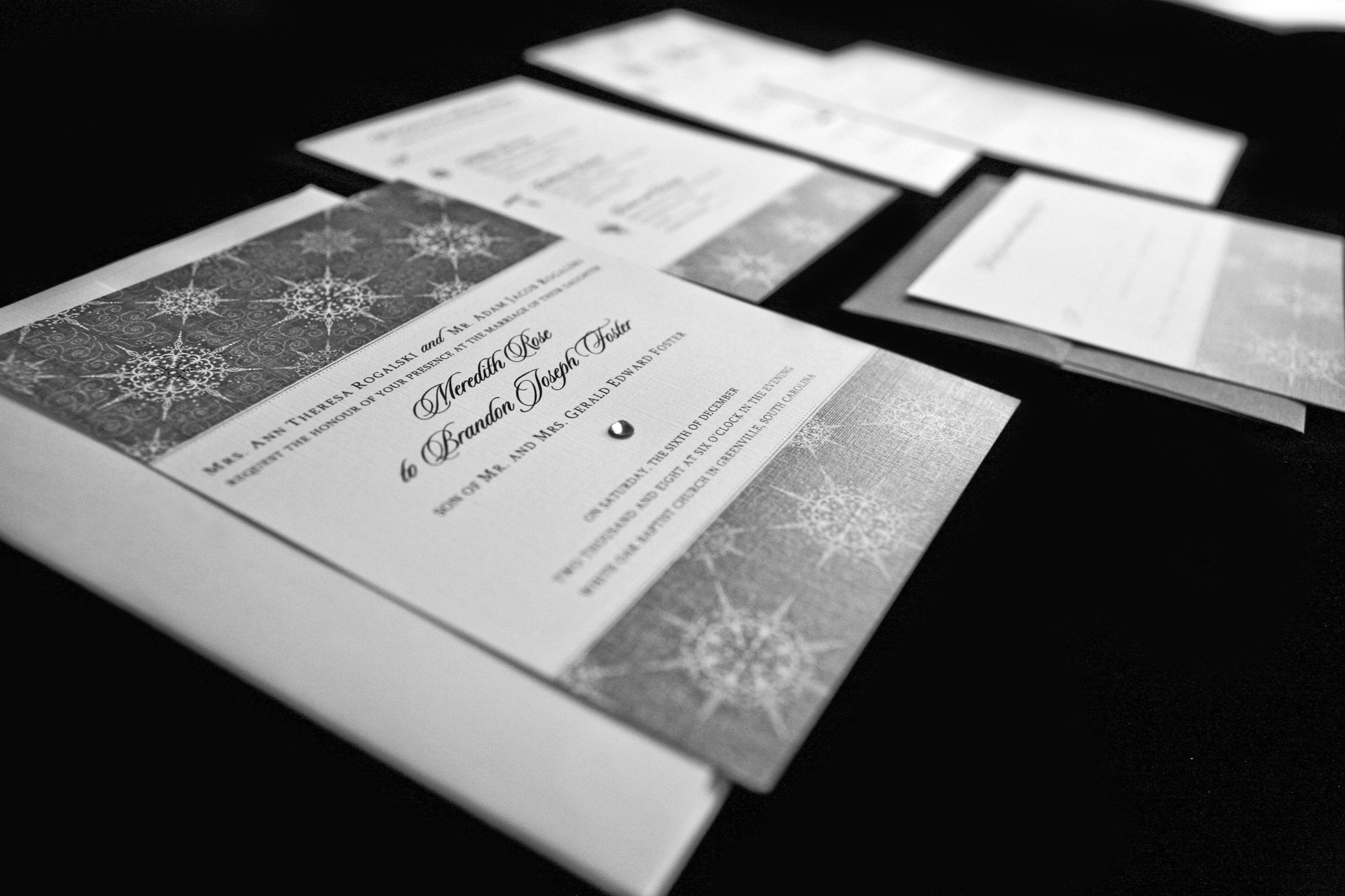 Stationery, white, black, invitation, Winter, Invitations, Menu, Wedding, Crystal, Swarovski, Beautiful, Card, Snow, Crystals, Snowflake, Snowy, Cold, Reply, Magical, December