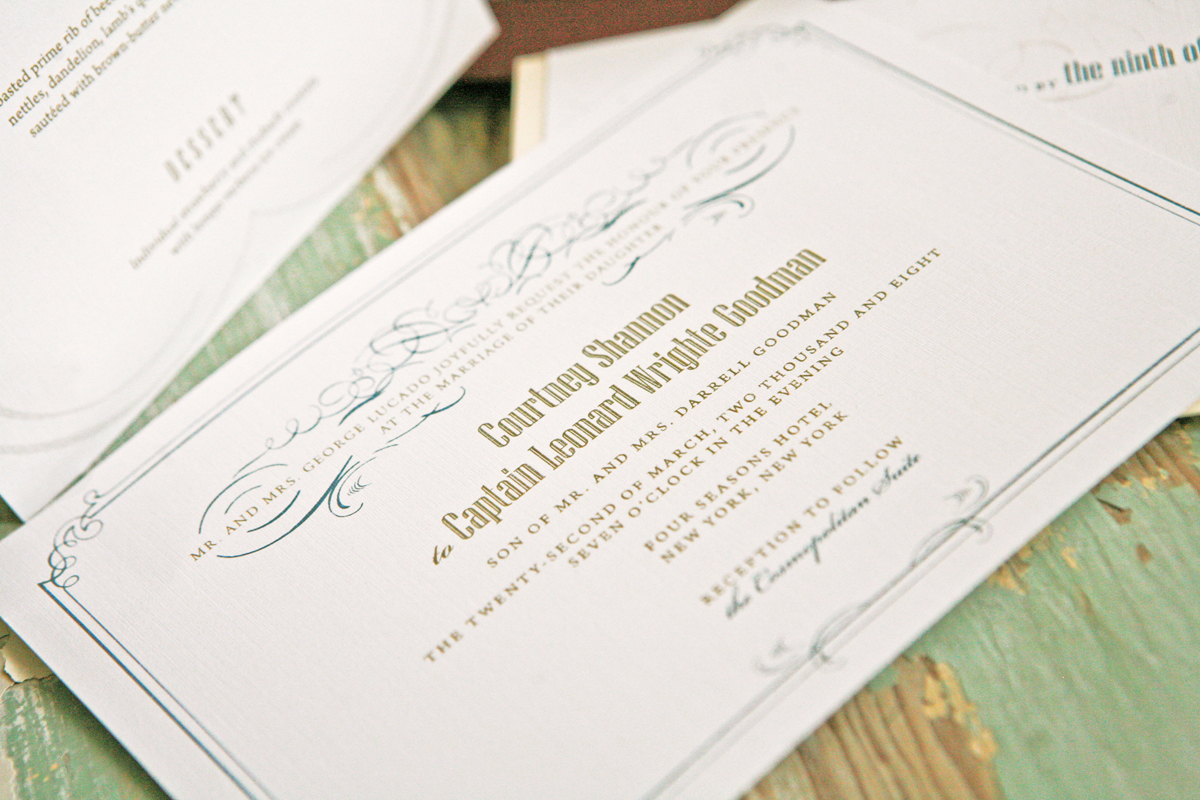 Stationery, white, green, gold, invitation, Invitations, Wedding
