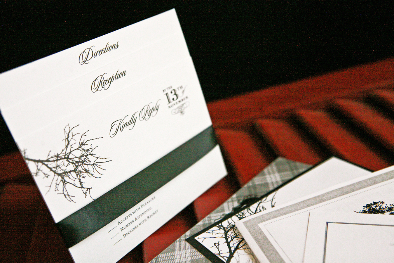 Stationery, white, black, invitation, Invitations, Outdoor, Menu, Monogram, Wedding, Program, Water, Tree, Golf, Plaid, Dinner, Rehearsal, Bottle