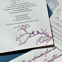 Stationery, Paper, pink, purple, Invitations, Cards, Wedding, Rsvp, Letterpress, Ink, Suite
