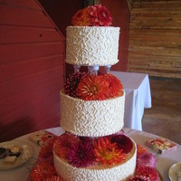 Reception, Flowers & Decor, Cakes, orange, pink, cake, Flowers, Dahlias, Designs by courtney