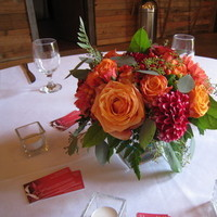 Reception, Flowers & Decor, orange, red, Centerpieces, Flowers, Roses, Centerpiece, Dahlias, Designs by courtney