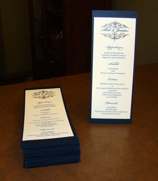 Inspiration, Reception, Flowers & Decor, Stationery, blue, Invitations, Board, Divine designs llc, Navy and ivory wedding menu, Wedding menu with monogram, Wedding menu