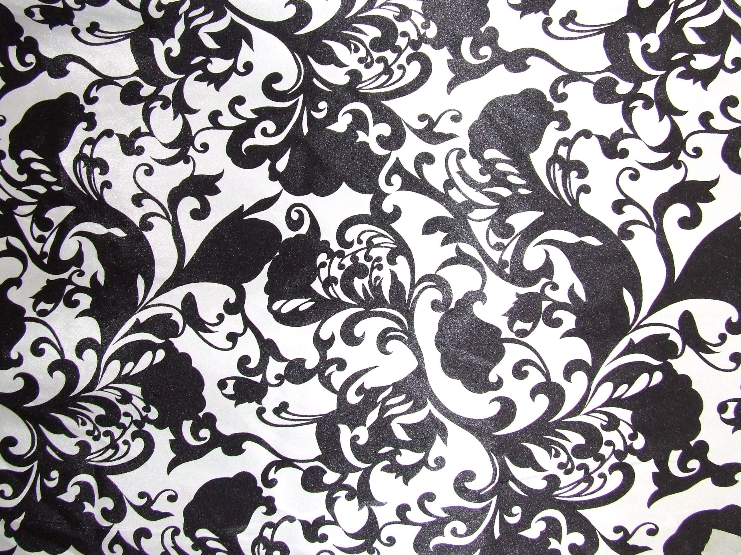 white, black, Fabric, Damask