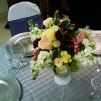 Reception, Flowers & Decor, white, yellow, pink, red, green, Centerpieces, Flowers, Centerpiece, Edens echo floral design event services
