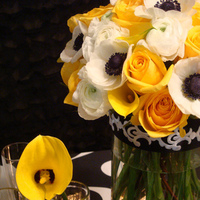 Flowers & Decor, white, yellow, black, Centerpieces, Flowers, Centerpiece, Cesaro designs