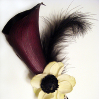 Flowers & Decor, white, purple, black, Boutonnieres, Flowers, Boutonniere, Cesaro designs