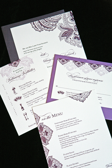 Stationery, white, purple, invitation, Invitations, Wedding, Paisley, Script, Aubergine, Lanodesignstudio