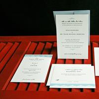 Stationery, white, blue, black, Invitations, Lanodesignstudio
