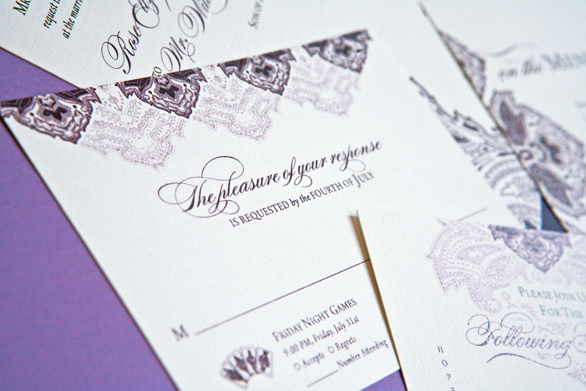 Stationery, white, purple, Invitations, Lanodesignstudio