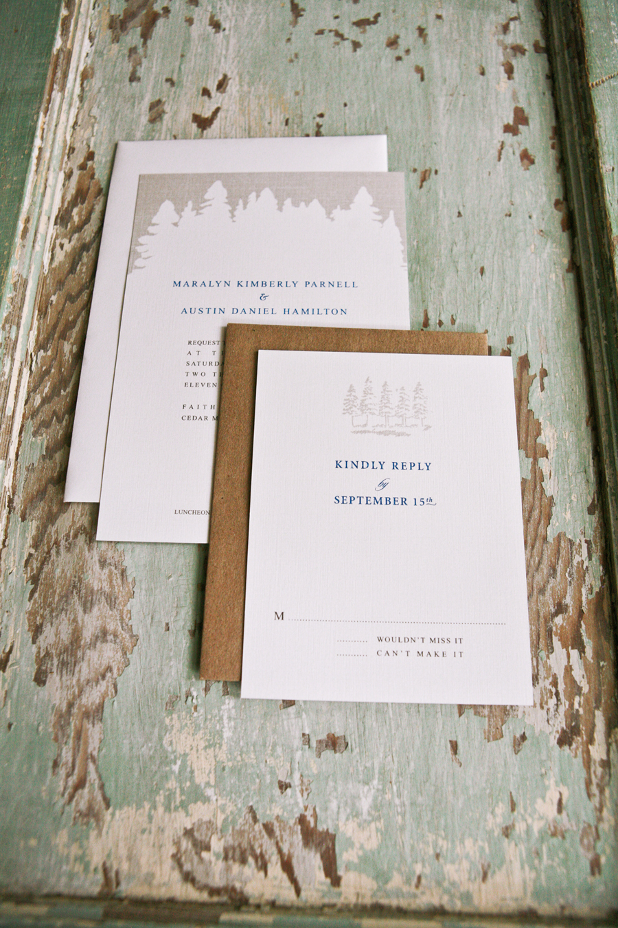 Stationery, Paper, white, blue, brown, invitation, Rustic, Rustic Wedding Invitations, Announcements, Invitations, Weddings, Card, Announcement, Goods, Organic, Nature, Trees, Earthy, Mountain, Woods, Reply, Lanodesignstudio, Justified