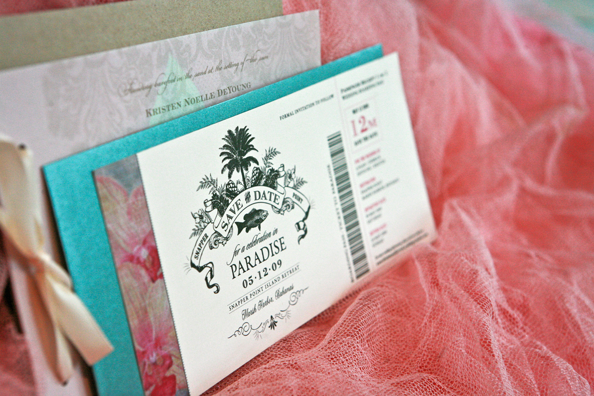 Flowers & Decor, Stationery, Destinations, Paper, white, red, green, brown, black, invitation, Beach, Beach Wedding Invitations, Invitations, Flower, Ticket, Tropical, Destination, Hand, The, Weddings, Island, Save, Date, Card, Goods, Made, Organic, Airplane, Reply, Lanodesignstudio