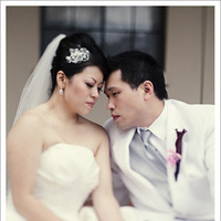 white, purple, Bride, Groom, Portrait