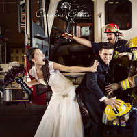Wedding Dresses, Fashion, red, dress, Bride, Groom, Fireman, Firefighters, Firefighter, Firetruck, Fire men, Fire man, Fire fighters, Fire fighter, Firemen, Caroline ghetes photography