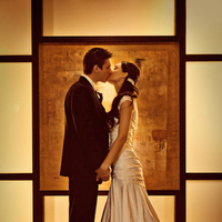 Beauty, Wedding Dresses, Fashion, white, orange, black, dress, Bride, Groom, Kiss, Hair, Kissing, Silhouette, Holding hands, Kisses