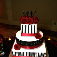 Reception, Flowers & Decor, Cakes, red, black, cake, Wedding