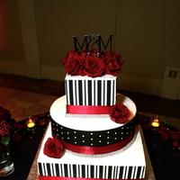 Reception, Flowers & Decor, Cakes, red, black, cake, Wedding