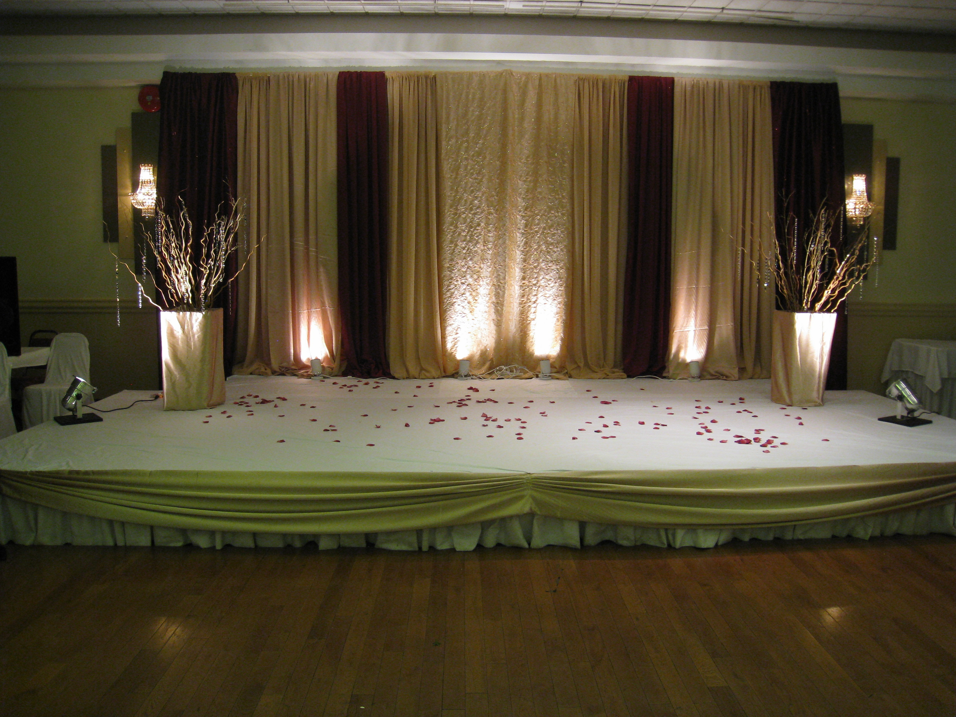 Reception, Flowers & Decor, burgundy, gold, Nes weddings, Stage decor, Reception backdrop