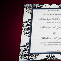 Stationery, white, yellow, blue, black, Square, Invitations, Wedding, And, Damask, Three little birds stationery gifts