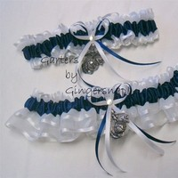 Reception, Flowers & Decor, white, blue, Wedding, Garter, Military, Marines, Garters by gingersnap