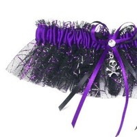 Ceremony, Reception, Flowers & Decor, Bridesmaids, Bridesmaids Dresses, Fashion, purple, black, silver, Wedding, Halloween, Garters by gingersnap