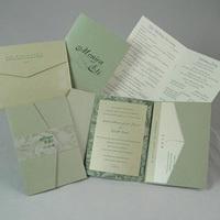 Stationery, white, green, invitation, Invitations, Program, Pocketfold, Do-it-yourself, Envelopmecom