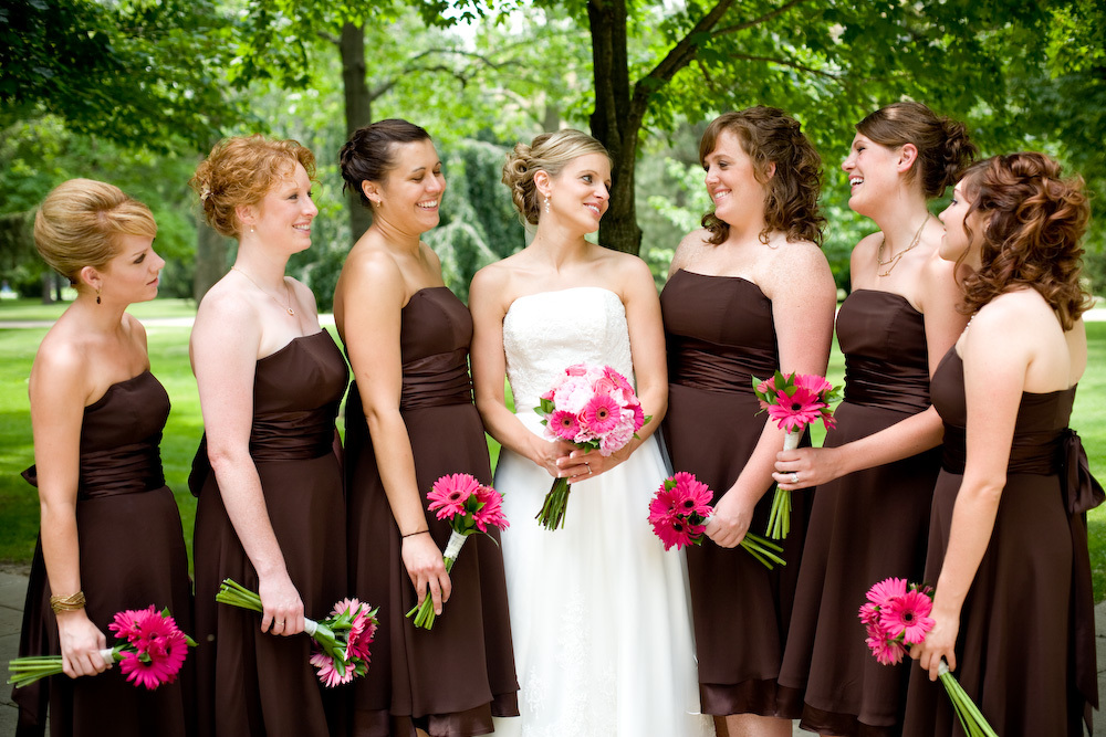 Beauty, Flowers & Decor, Bridesmaids, Bridesmaids Dresses, Wedding Dresses, Fashion, pink, brown, dress, Bridesmaid Bouquets, Flowers, Hair, Monica z photography, Flower Wedding Dresses