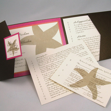 Inspiration, Stationery, orange, pink, brown, Beach, Beach Wedding Invitations, Invitations, Board, Starfish, Pocketfold, Envelopmecom