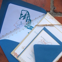 Stationery, white, orange, blue, brown, Invitations