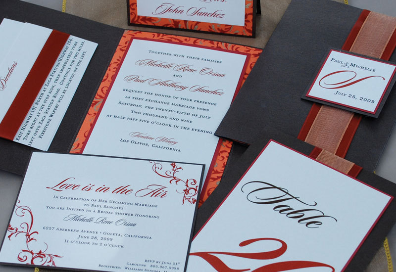 Ceremony, Reception, Flowers & Decor, Stationery, orange, red, brown, gold, Invitations, Place Cards, Table, Numbers, Shower invitations