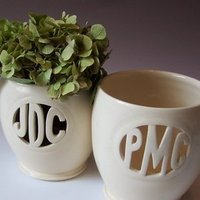 Ceremony, Reception, Flowers & Decor, white, ivory, Bride, Groom, Monogram, Custom, Gift, Bridesmaid, Of, Mother, And, Vase, Hand, Couple, The, Cream, A, Personalized, One, Kind, Heirloom, Clean, Ceramic, Carved, Thrown, Maid of clay ceramics, Artisan, Minimal