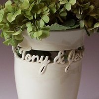 Ceremony, Flowers & Decor, white, ivory, Bride, Groom, Wedding, Custom, Gift, Unique, Vase, Hand, Cream, Date, Names, Personalized, Heirloom, Ceramic, Thrown, Maid of clay ceramics