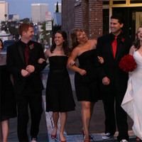 Bridesmaids, Bridesmaids Dresses, Wedding Dresses, Fashion, red, black, dress, Party, Bridal, Beverly hills videographer