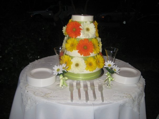 Cakes, yellow, orange, green, gold, cake, Karas cakery