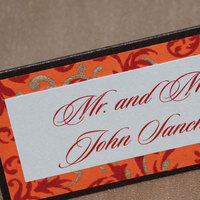 Stationery, orange, red, green, brown, gold, Invitations, Place Cards, Proskalo inc