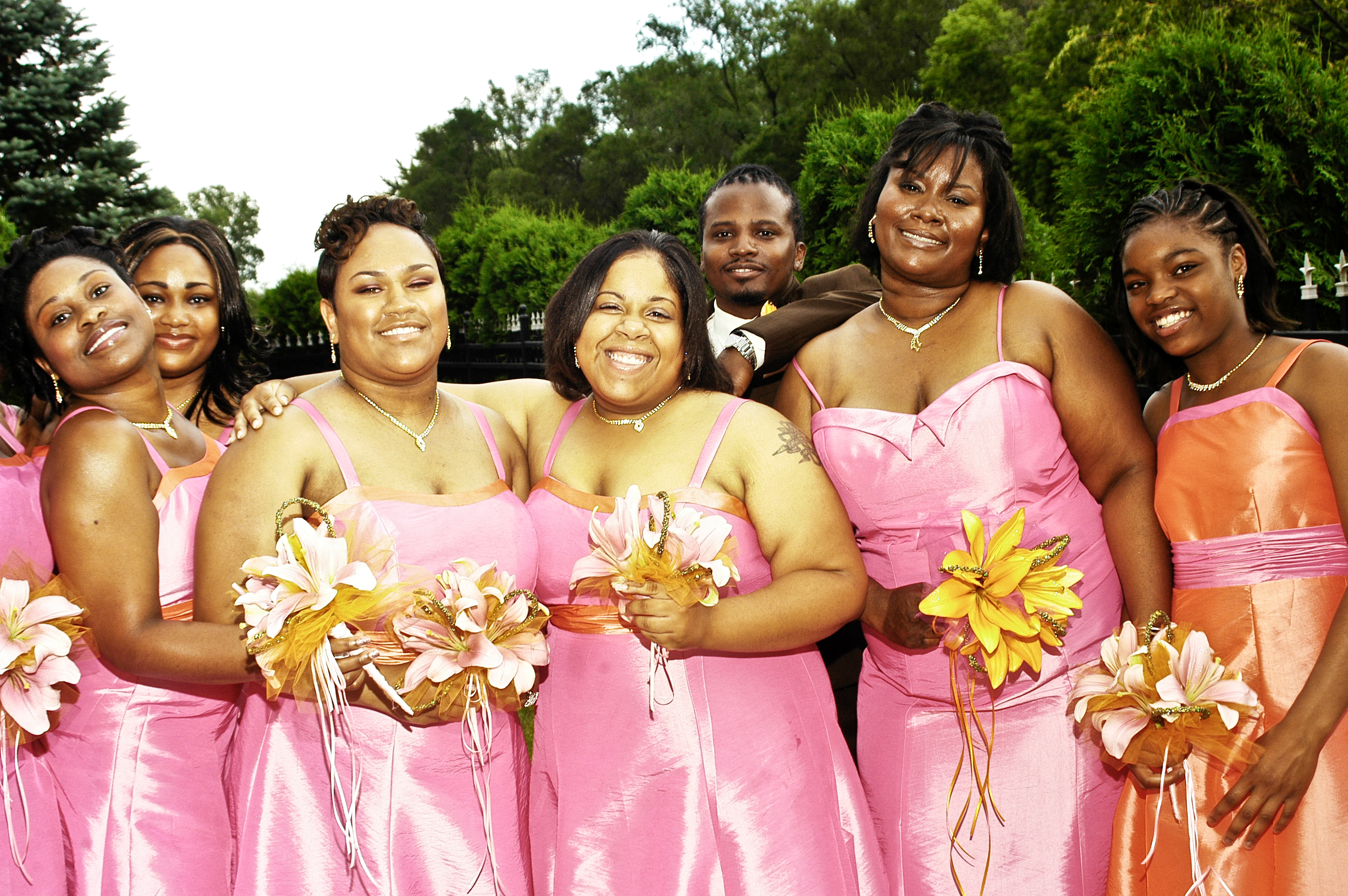 Bridesmaids, Bridesmaids Dresses, Fashion, orange, pink