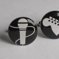 Ceremony, Reception, Flowers & Decor, Favors & Gifts, Fashion, Men, white, black, silver, Favors, Groomsmen, Gifts, Groom, Band, Music, Rock, Cufflinks, Gift for groom, Mosochiccom cuff links and more