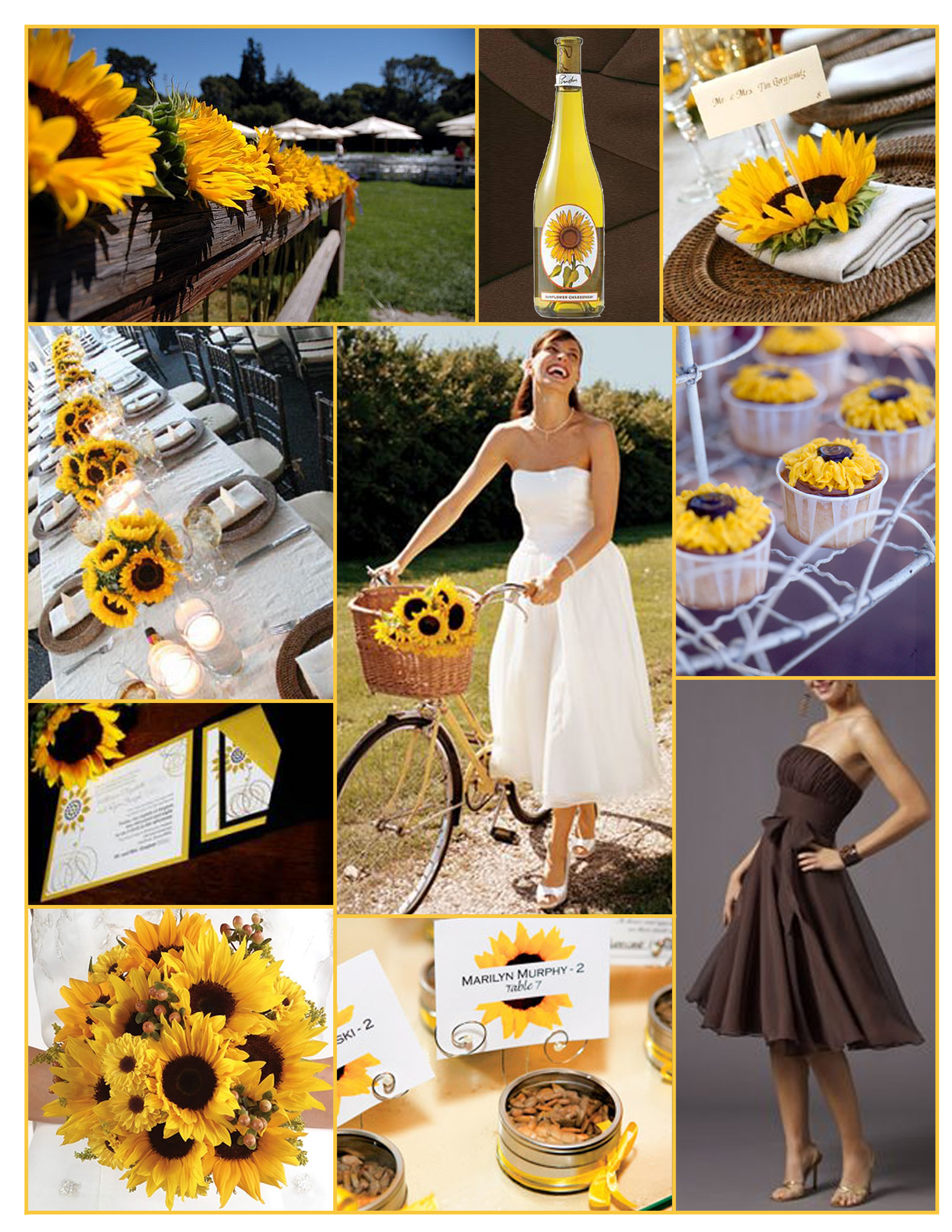 Inspiration, yellow, brown, Board, Sunflower, David's Bridal, Sunflower wedding, Mori lee, Sunflower cupcakes
