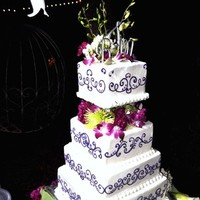 Reception, Flowers & Decor, Cakes, white, pink, purple, green, cake, Flowers, Chelles belles