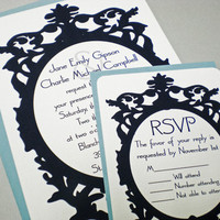 Stationery, white, blue, black, invitation, Invitations, Reply Cards, Rsvp, Fancy, Baroque, Ps paper goods
