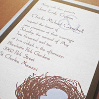 Stationery, white, blue, brown, invitation, Invitations, Bird, Nest, Rsvp, Set, Ps paper goods
