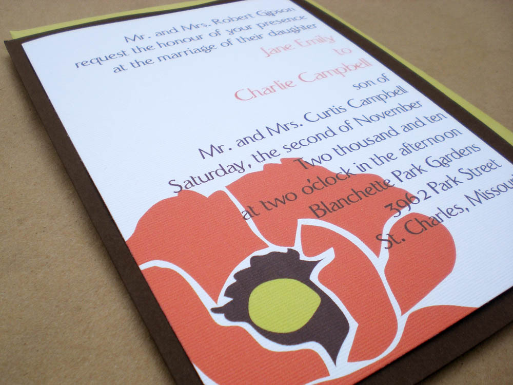 Flowers & Decor, Stationery, white, orange, brown, invitation, Invitations, Flower, Floral, Rsvp, Set, Poppy, Ps paper goods