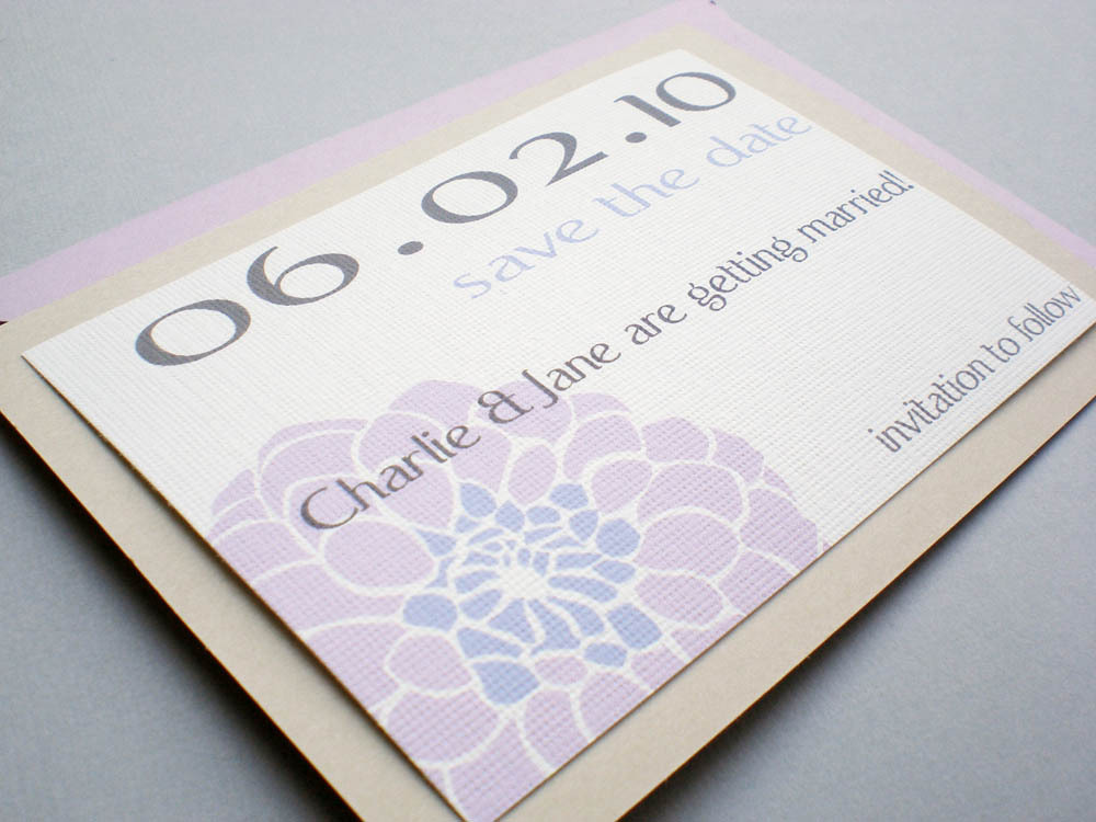 Flowers & Decor, Stationery, white, purple, silver, invitation, Invitations, Save-the-Dates, Flower, Save the date, Floral, Dahlia, Zinnia, Ps paper goods, Crysanthemum