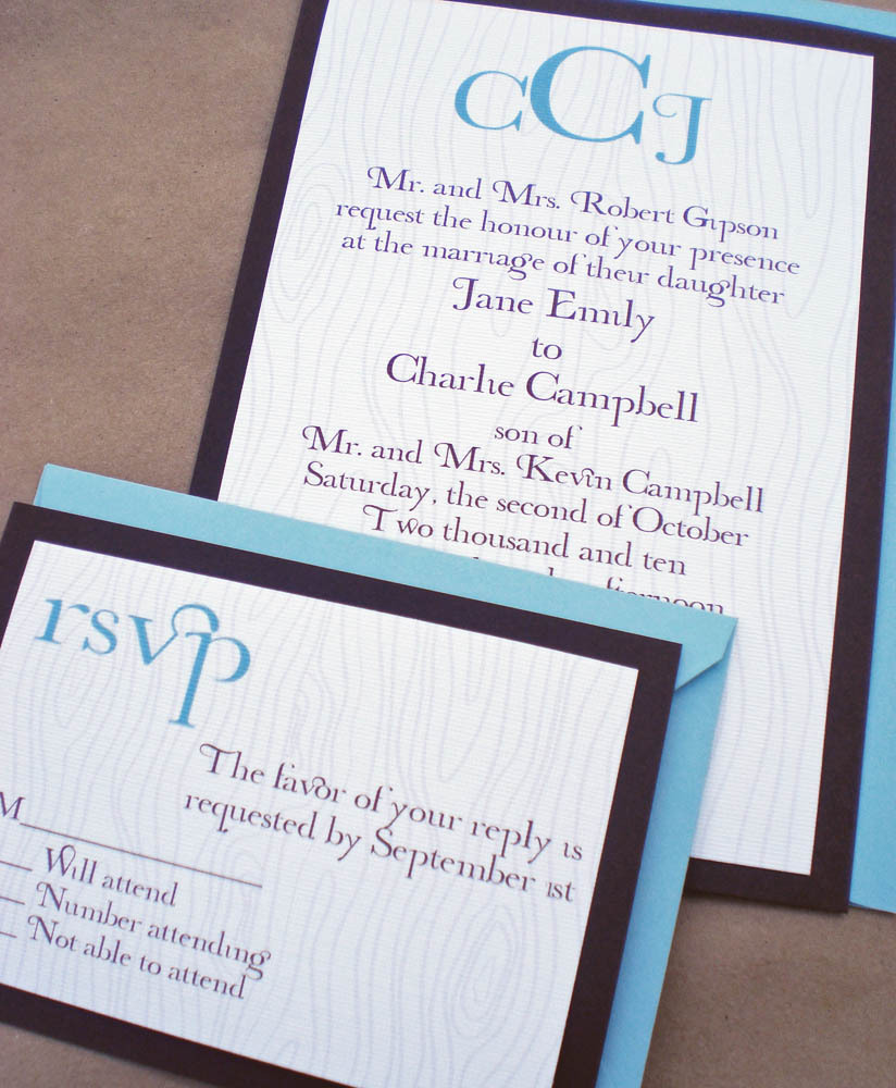Stationery, blue, brown, invitation, Invitations, Reply Cards, Tree, Rsvp, Set, Wood, Faux bois, Ps paper goods, Woodgrain