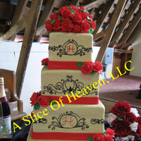 Reception, Flowers & Decor, Cakes, ivory, red, black, cake, Flower, Fondant, Rose, Scroll, llc, A slice of heaven
