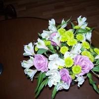 Reception, Flowers & Decor, white, purple, green, Flowers, Roses, Mums, Alstromeria