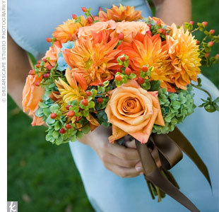 Flowers & Decor, orange, blue, green, brown, Bride Bouquets, Flowers, Bouquet