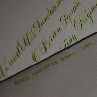 Stationery, green, Invitations, The left handed calligrapher - calligraphy